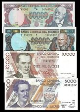 Ecuador 5000 to 50000 SUCRES 1999 lot 4 PCS UNC OFFER !!