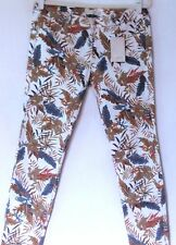 NEW ZARA COTTON TROPICAL FLORAL WHITE GREEN BROWN SKINNY JEANS LOW RISE 12