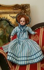 "Antique miniature 11"" GERMAN bisque composition cabinet doll sleepy eyes, mohair"