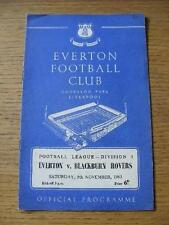 09/11/1963 Everton v Blackburn Rovers  (Small Number Noted On Cover). No obvious
