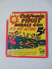 Gumball Machine - Display Card California FRUIT Bubble Gum 5 cent  - Old Surfers