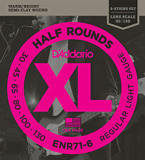 D'Addario ENR71-6 Half Round Bass Guitar Strings, 6-String Set, Regular Light