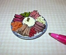 "Miniature Party-Sized  Meat/Cheese Tray w/Potato Salad, 1 1/2"": DOLLHOUSE 1/12"