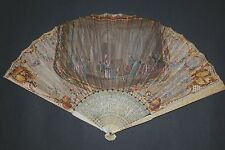 ANTIQUE CHINESE CANTON EXPORT HAND CARVED STICKS FIGURAL SCENE PAPER LEAF FAN