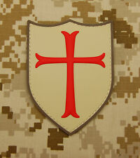 3D PVC Cross Crusader Shield Rubber Tactical SEAL Full Color Morale Patch Hook