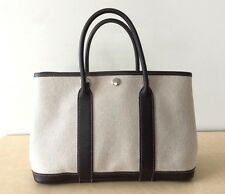HERMES CANVAS BROWN LEATHER TOTE GARDEN PARTY BAG HANDBAG BEIGE 30 TPM SIZE MINT