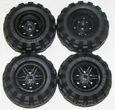 LEGO LOT OF 4 NEW 56 X 26 BALLOON TIRES WITH BLACK 6 PINHOLE HUBS CAR TRUCKS