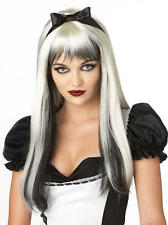 Dark Alice Halloween Black/White Fairytale Adult Fancy Dress Ladies Costume Wig