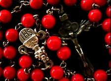 Real RED CORAL JADE BEADS cross necklace stations of the cross rosary necklace