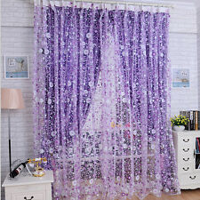New Print Floral Voile Door Sheer Window Curtains Room Curtain Divider 100X200CM