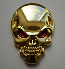 Chrome 3D Metal GOLD Skull Badge for Chevrolet Captiva Aveo Trax Camaro Tacuma