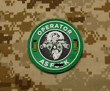 3D PVC Operator As F**k OAF Nation MARSOC Raiders USMC Morale Patch Hook Backing