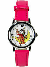 New Garfield Cat Girl Wrist watch w/ Dark Pink leather band # on the moon