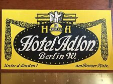 Original Luggage Label Of ~ Hotel Adlon ~ Berlin Germany / Kofferaufkleber