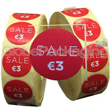 4000 x 'SALE €3' EURO Retail Self Adhesive Shop Price Labels Stickers 35mm
