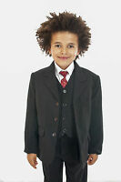Boys Black Suit 5 Piece Wedding Page Boy Baby Formal Party Smart  (0-3 - 14 yrs)