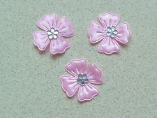 10 BEAUTIFUL PINK SATIN FLOWERS WITH SILVER COLOURED DIAMONTE STYLE CENTRE