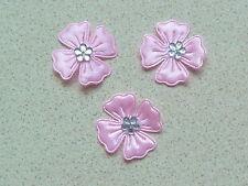 10 bellissimi fiori di raso rosa con Diamonte color argento CENTRO STILE