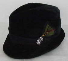 VINTAGE Mens Black Faux Fur Winter Dress Hat FEDORA Size Large with feather