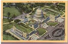 1931 Linen Postcard Beautiful Aerial View Capitol Grounds Washington DC Unposted