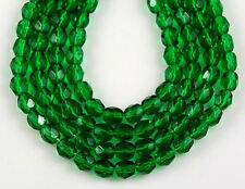 Czech Christmas Green Round Faceted Fire Polished Craft Glass Beads 4mm 100pcs