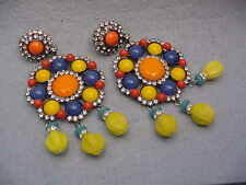 Lawrence Vrba Beaded Calypso Embellished Clip-On Drop Earrings