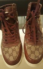 GUCCI MENS BROWN CROC/GATOR LEATHER HIGH-TOP SNEAKERS SHOES GUSSIMA SZ 13 ITALY