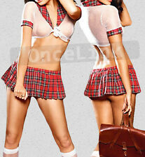 Sexy Lingerie SAILOR Fancy Costume School Girl Uniform Top + Mini Dress Skirt