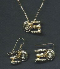 Star Trek:Next Gen Enterprise-D Gold Necklace & Earrings Set of 3(STJW-030-Set3)