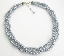 3 Strand Pearl Necklace Gray Pearl Twisted Bridal Party Wedding gift Necklace