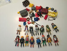 Lot of 15 Playmobile minifigures w lots of accessories Geobra figures U254