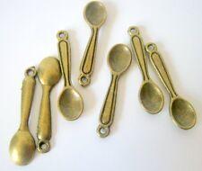 15 Antique Bronze Spoon Charms 24x6mm  (B302)
