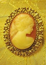 Vintage Cameo Brooch Gold tone ivory women Ponytail Resin Pin