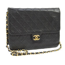 Auth CHANEL Quilted CC Single Chain Shoulder Bag Black Leather VTG GHW A27832