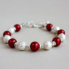 Silver stardust red pearls beaded bracelet party wedding bridesmaid gift