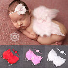 Newborn Baby Kids Feather Lace Headband & Angel Wings Flowers Photo Prop 2016