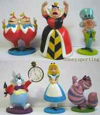 LOT OF 6 Alice in wonderland PVC figures White Rabbit Cheshire Cat Hatter