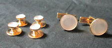 NEW WhitePearl Gold Tuxedo Cufflinks Shirt Studs Formal Set Tux Cuff Links