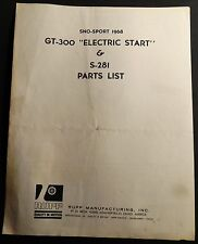 1968 RUPP SNOWMOBILE GT-300 & S-281 ELECTRIC START PARTS LIST MANUAL (632)