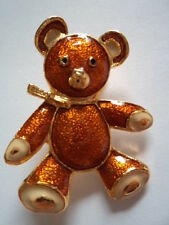 Vintage Unsigned Goldtone Teddybear Brooch/Pin