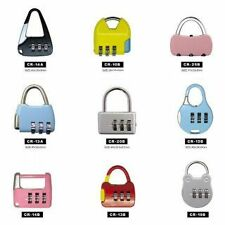 (SET OF 4) 3 DIGIT RESETTABLE CODE PASSWORD NUMBER LOCK COMBINATION BAG PADLOCK