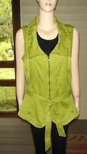"""""""The Real Truth"""" Women's Lime Green Cott. Zip Vest~Size L~Draw-string Collar NEW"""