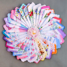 20 MIXED WHOLESALE LOT ASSORTED WOMEN VINTAGE COTTON HANDKERCHIEF HANKY FLOWER