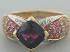 14K YELLOW GOLD RING RHODOLITE GARNET, PINK TOURMALINE, ROSE QUARTZ & DIAMOND