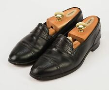 EDWARD GREEN for Alan Flusser Black Leather Slip-On Medallion Captoe Loafers 9.5