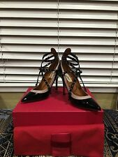 Valentino $995 Love Latch Ankle Wrap Black Patent Leather Pumps In Size 36.5-6.5