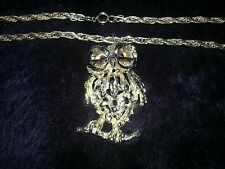 Vintage Tanger II wise owl large pendant on chain goldtone SCARCE