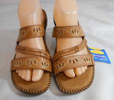 Dr Scholls Gel-Pac Tan Leather Strappy Sandals Womens Size 9