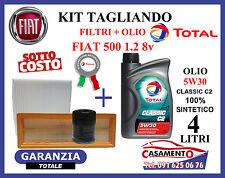 KIT TAGLIANDO FIAT 500 1.2 8v  FILTRI + OLIO MOTORE TOTAL CLASSIC C2 5W30