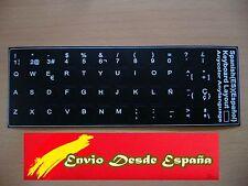 Pegatinas teclado español QWERTY color NEGRO ordenador portátil todas las marcas